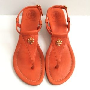 Tory Burch Orange Leather Thong Wedge Sandals
